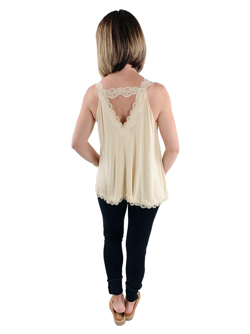 RESTOCK!!!! Lace Trim Staple POL Tank With Back Strap Detail (Multiple Colors)
