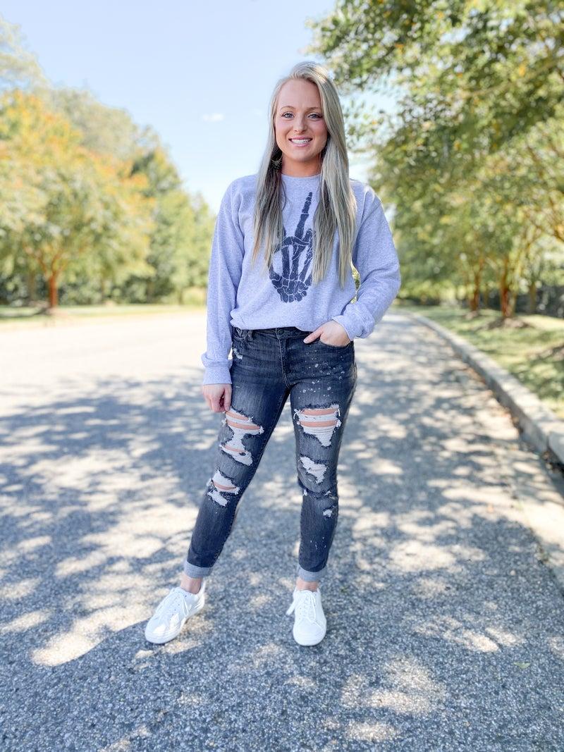 PLUS/REG Judy Blue Grey Wash Grease Lightening Bleached Out Boyfriend Jeans