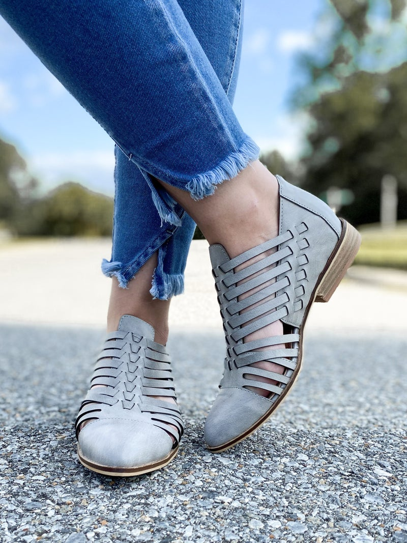 Stunning Grey Cutout Flat Booties with Point Toes