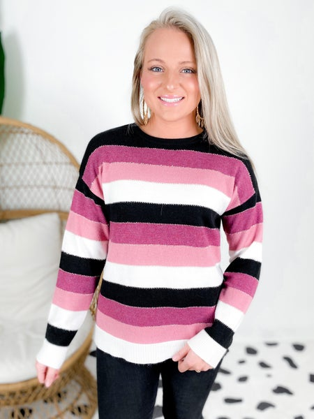 PLUS/REG Mauve Stripe Sweater With Sparkle Detail