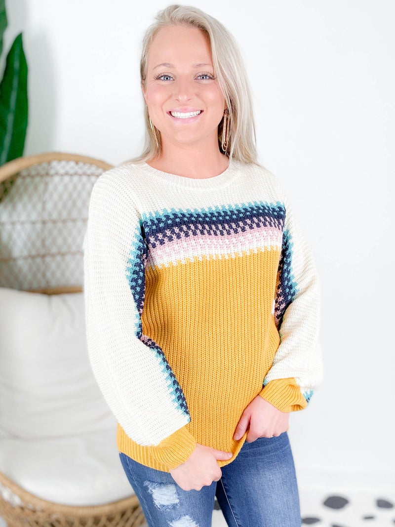 RESTOCK!!!!! Mustard & Multi Color Stripe Sweater