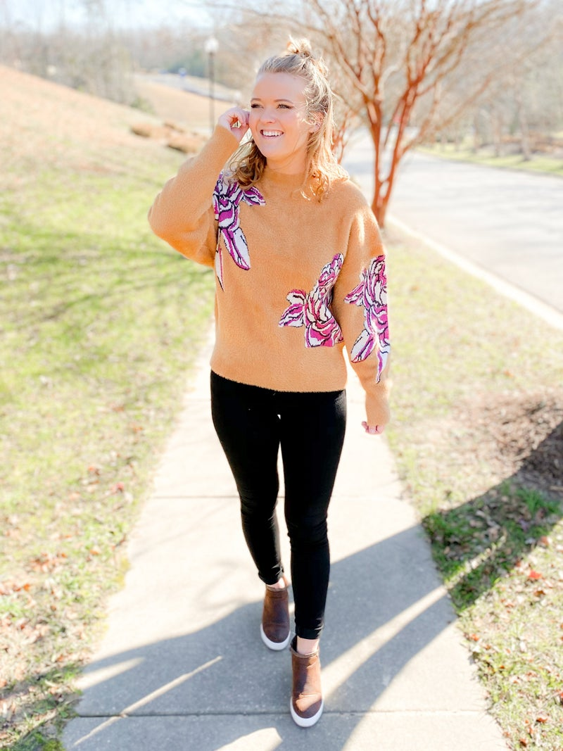 Long Sleeve Rust & Floral Fuzzy Pull Over Sweater