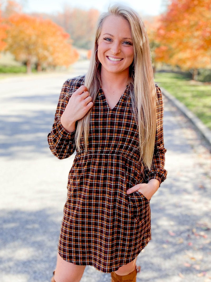 Plaid Long Sleeve V Neck Dress