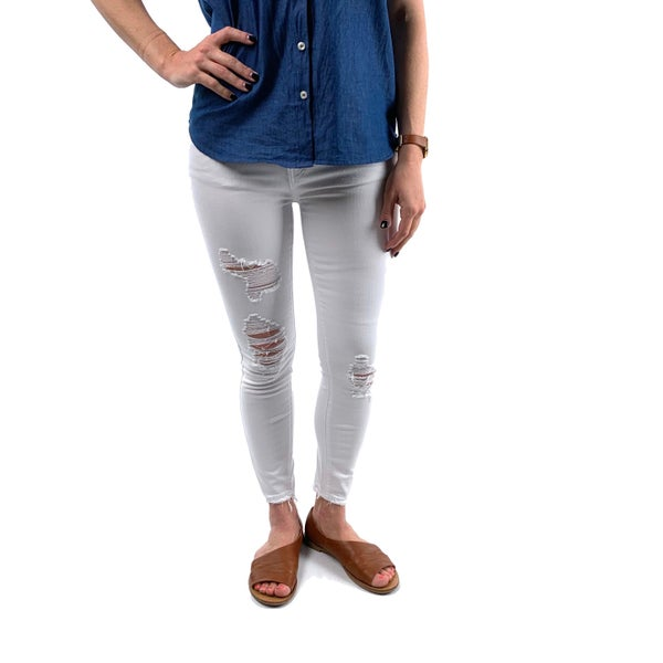 Plus/Reg Judy Blue White Distressed Mid Rise Cropped Skinny Jeans