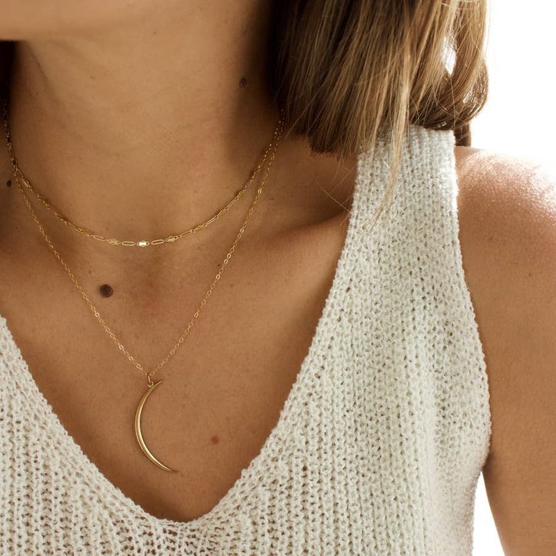Thin Brass Crescent Necklace (Multiple Colors)