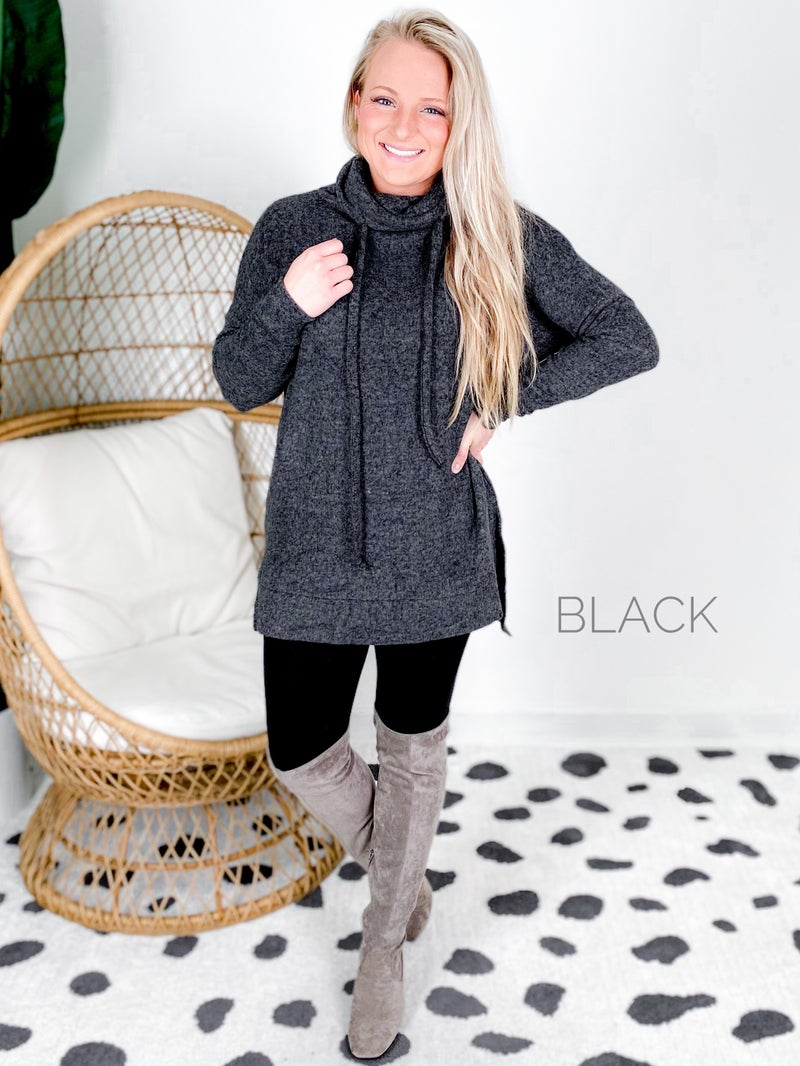 Doorbuster!!  Plus/Reg Brushed Funnel Neck Tunic Sweater (Multiple Colors)