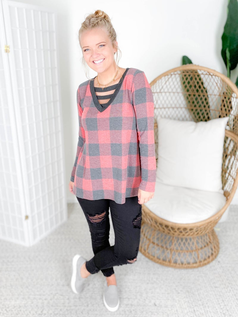 PLUS/REG Heather Buffalo Plaid Long Sleeve Top with Strappy Neckline