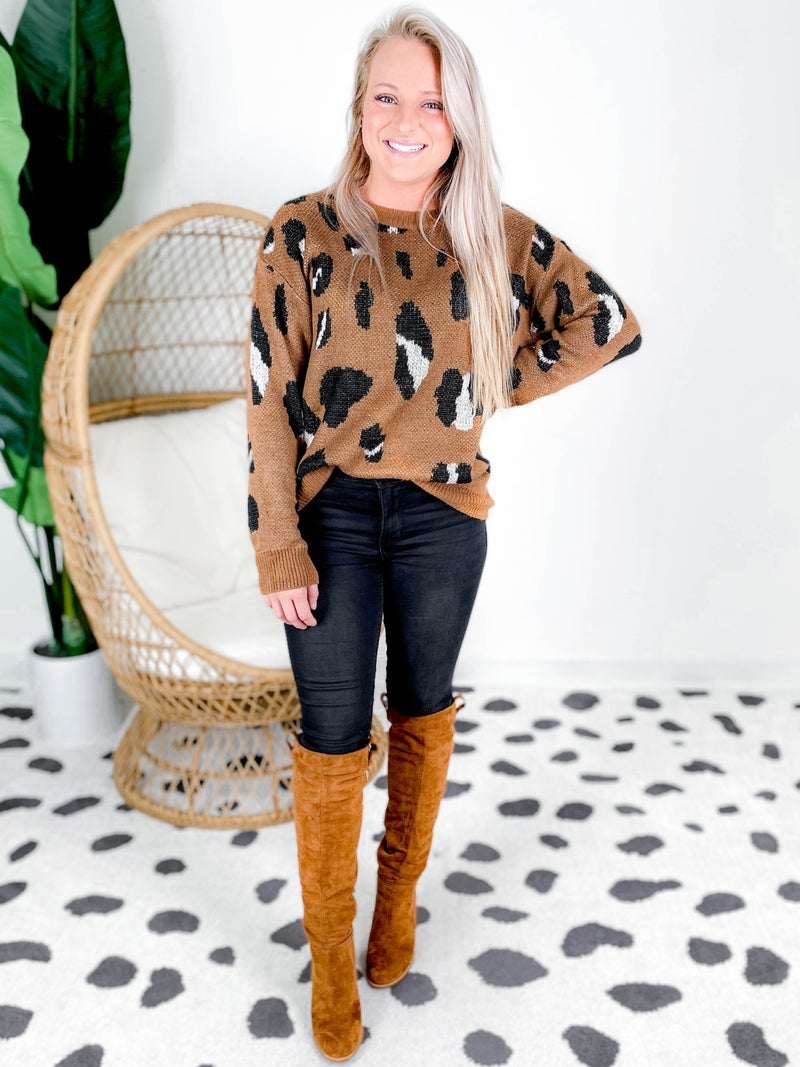PLUS/REG Long Sleeve Leopard Print Crew Neck Sweater