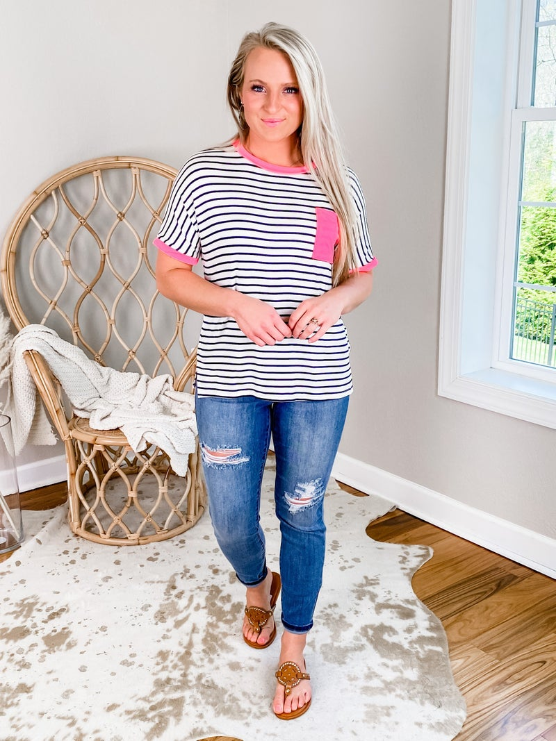 PLUS/REG Ivory Short Sleeve And Navy Stripe With Hot Pink Detail