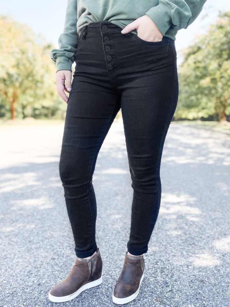 PLUS/REG Black Hole Sun KanCan High Rise Button Fly Black Jeans