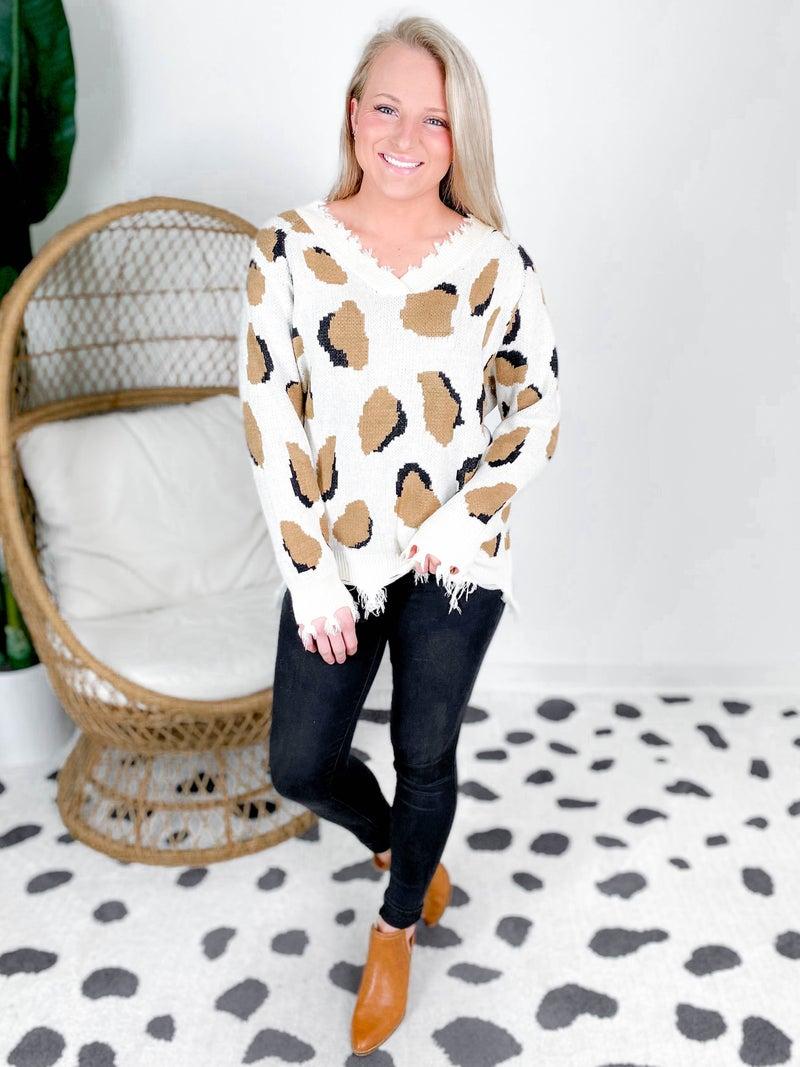 Frayed V Neck Leopard Print Sweater