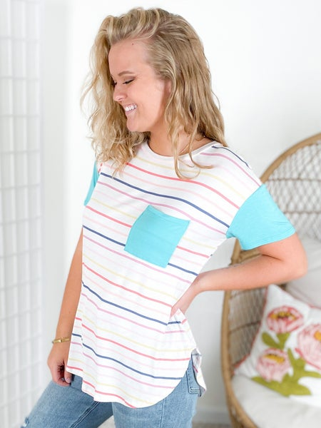 PLUS/REG Candy Striped Pocket Top with Blue Sleeves