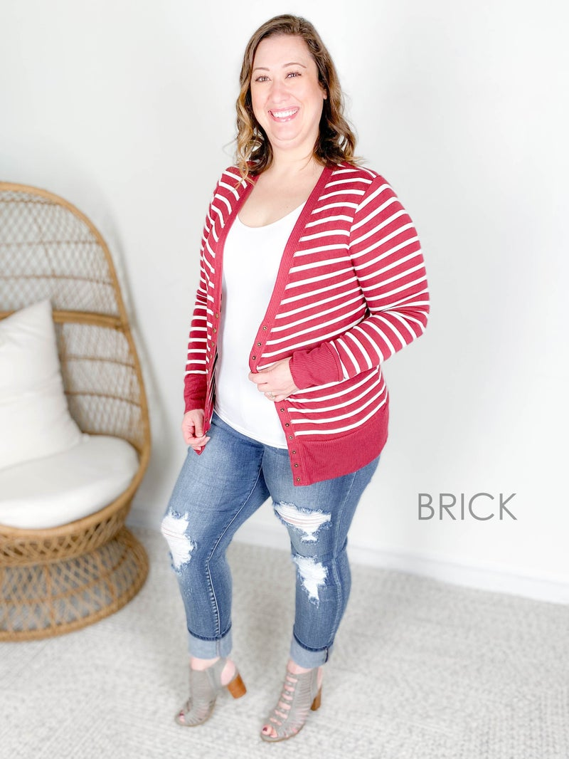 restock! Door Buster!! PLUS/REG Zenana Striped Snap Button Cardigan