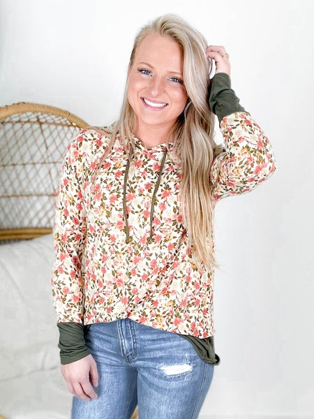 PLUS/REG Ivory Floral Print Hooded Top