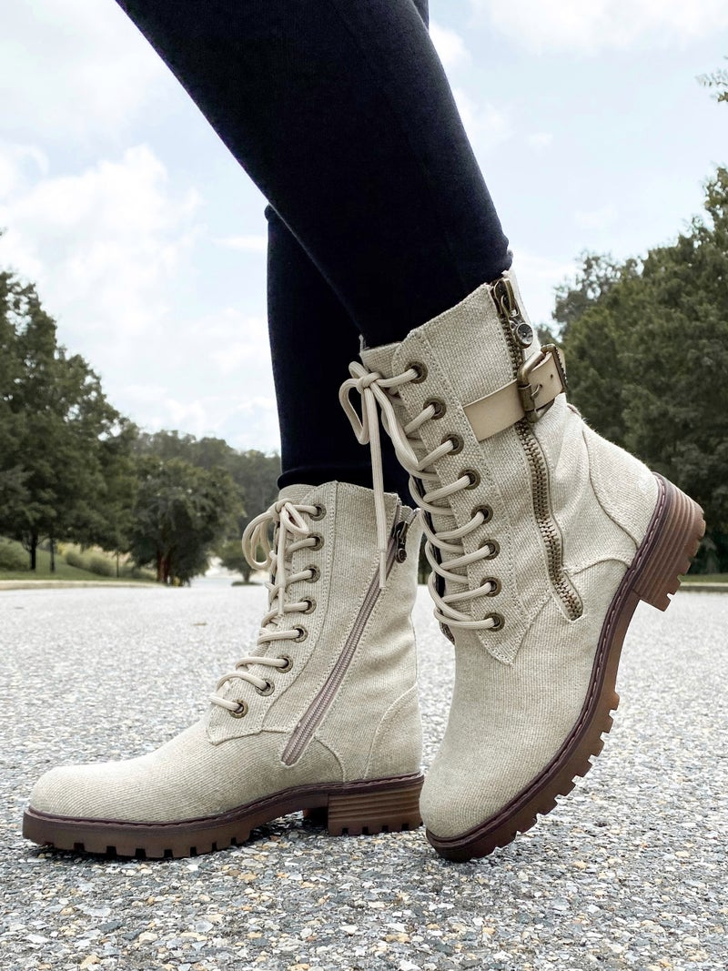 Blowfish Combat Boot with Zipper, Buckle and Laces