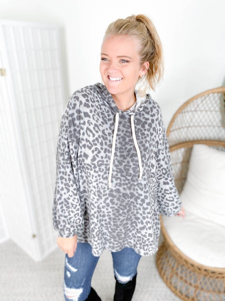Honeyme Charcoal Leopard Oversized & Cozy Hooded Top