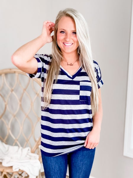 PLUS/REG Short Sleeve Stripe V Neck Top With Chest Pocket (Multiple Colors)