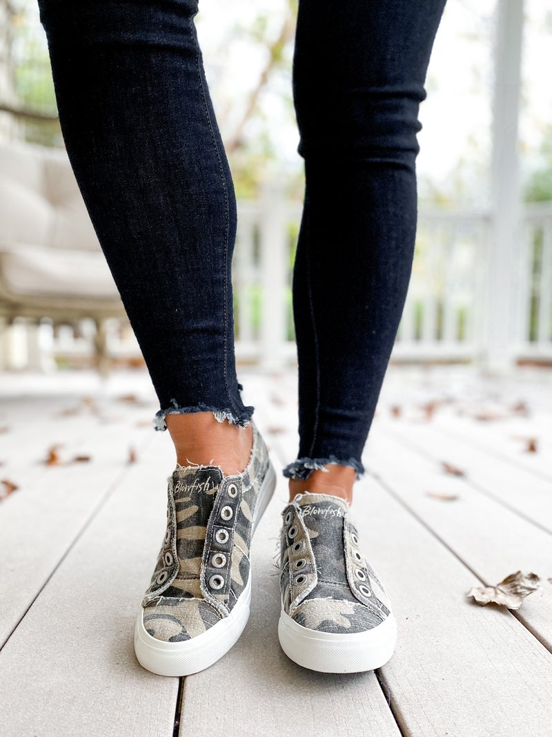 Blowfish Camo Distressed Unlaced Sneakers