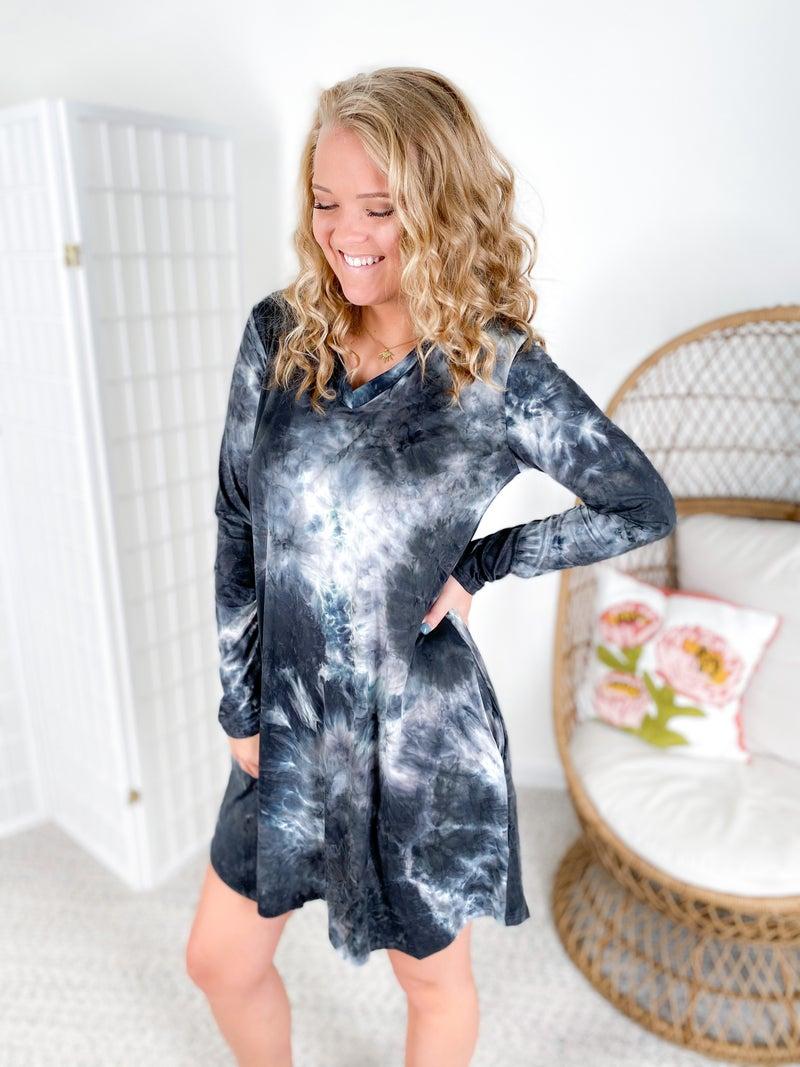 PLUS/REG Long Sleeve Black Tie Dye Dress