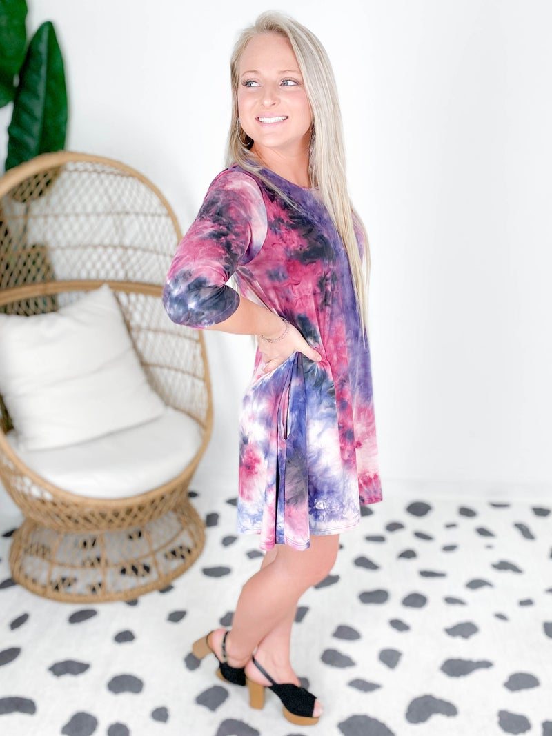 PLUS/REG Purple & Burgundy Tie Dye Cloud Soft Dress