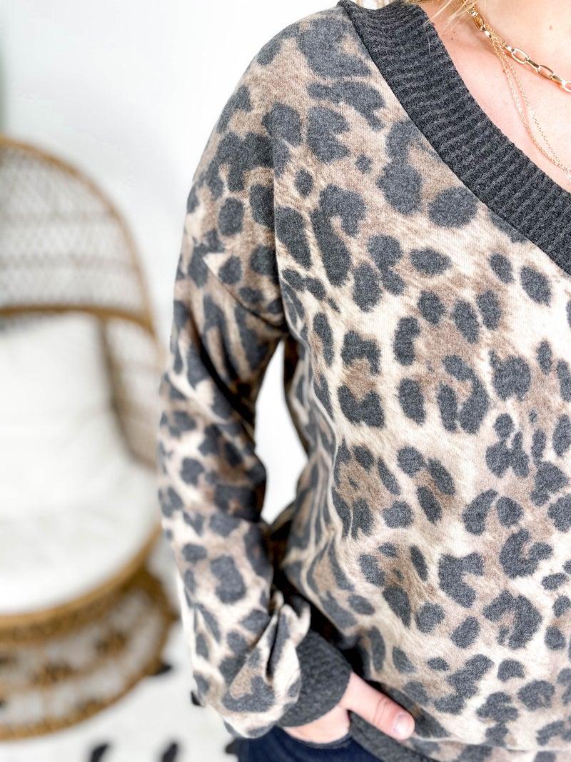 PLUS/REG Super Soft Leopard V Neck Top