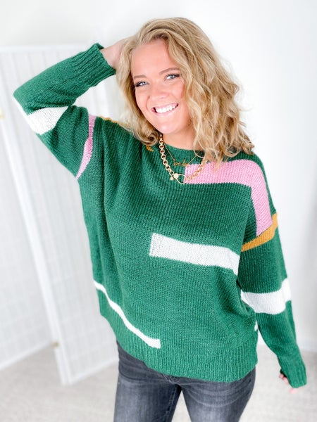 Offset Stripe Sweater (Multiple Colors)