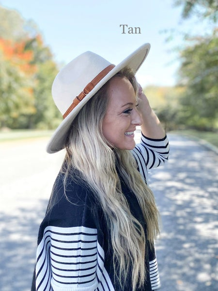Wide Brim Hat with Leather Band & Tassel (Multiple Colors)