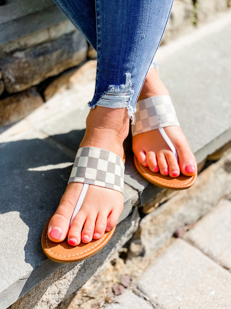 Checkered Slip On Sandals (Multiple Colors)
