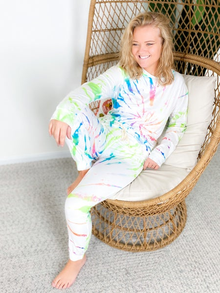 PLUS/REG White Tie Dye Long Sleeve Lounge Set