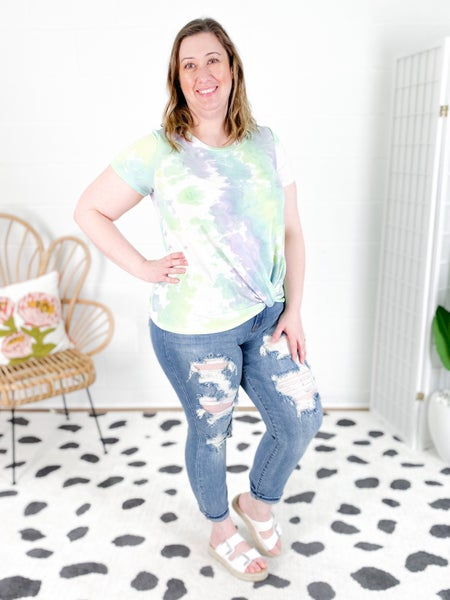 NOW IN XL!!!!! Tie Dye Top with Twist Knot (Multiple Colors)