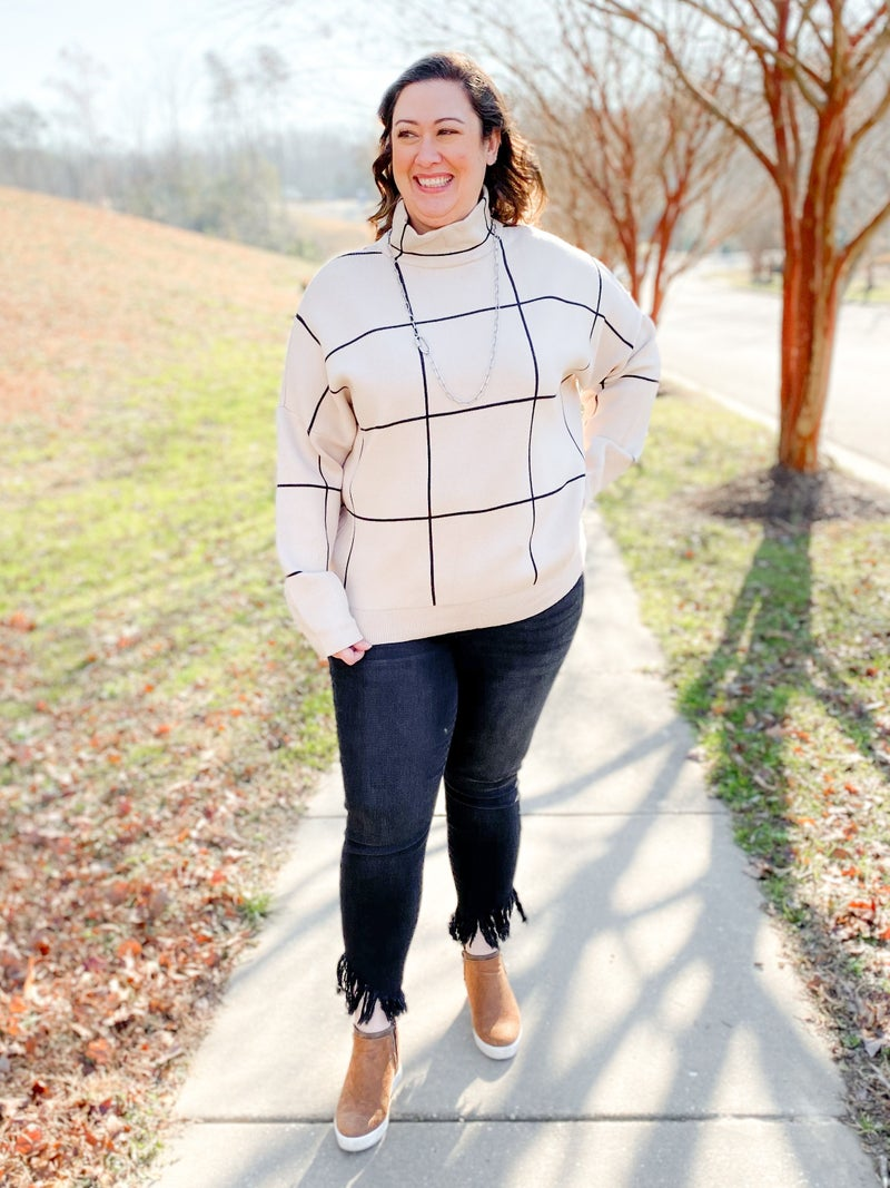 PLUS/REG Grid Pattern Mock Neck Sweater (Multiple Colors)