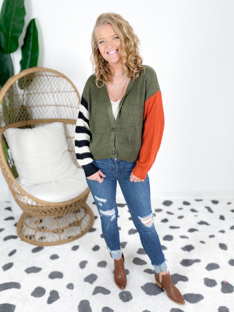 Olive Color Block Stripe Crop Sweater