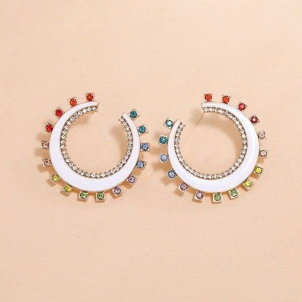 Nini White Enamel Rainbow Swarovski Crescent Earrings