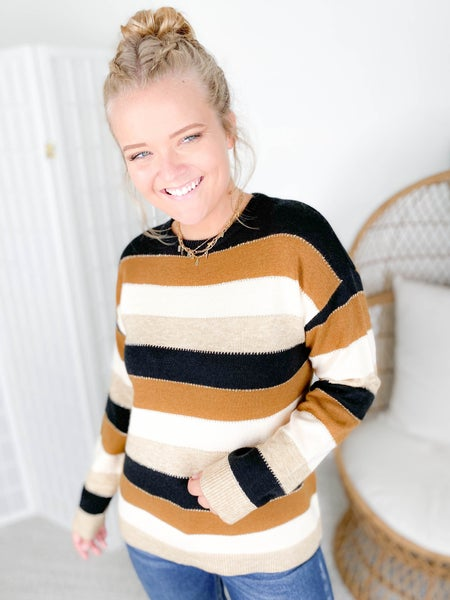PLUS/REG Neutral Striped Sweater with Sparkle Detail
