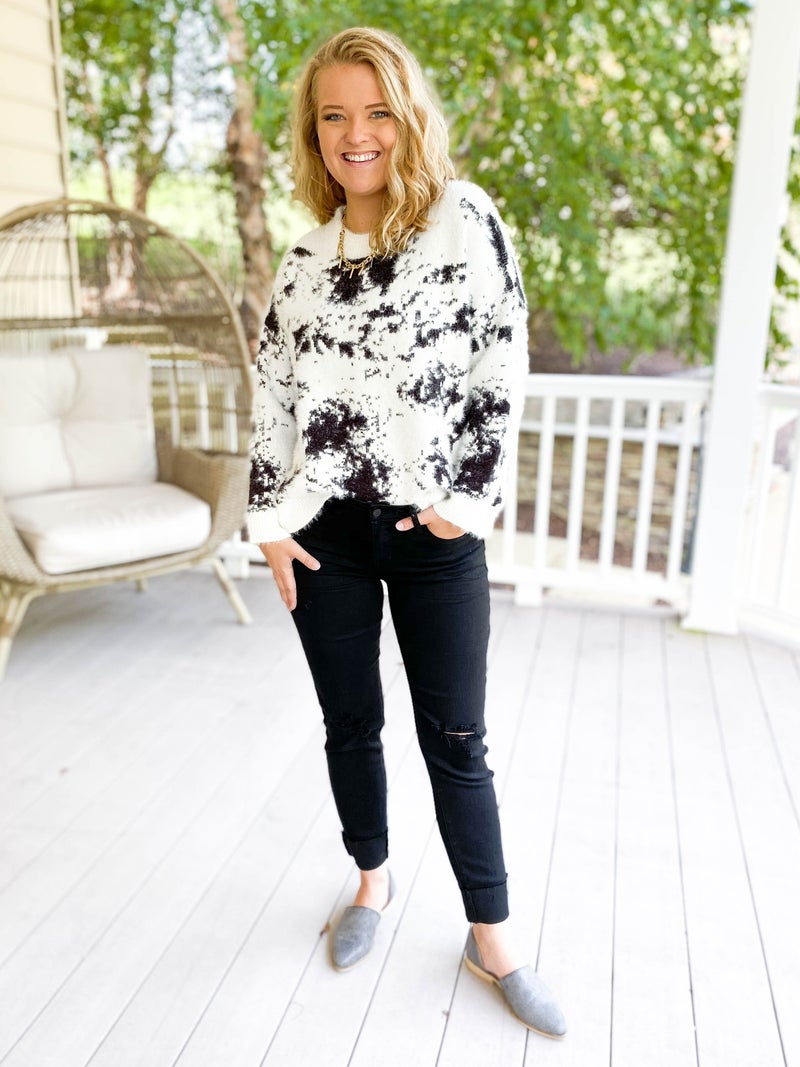 Abstract Black & White Fuzzy Sweater
