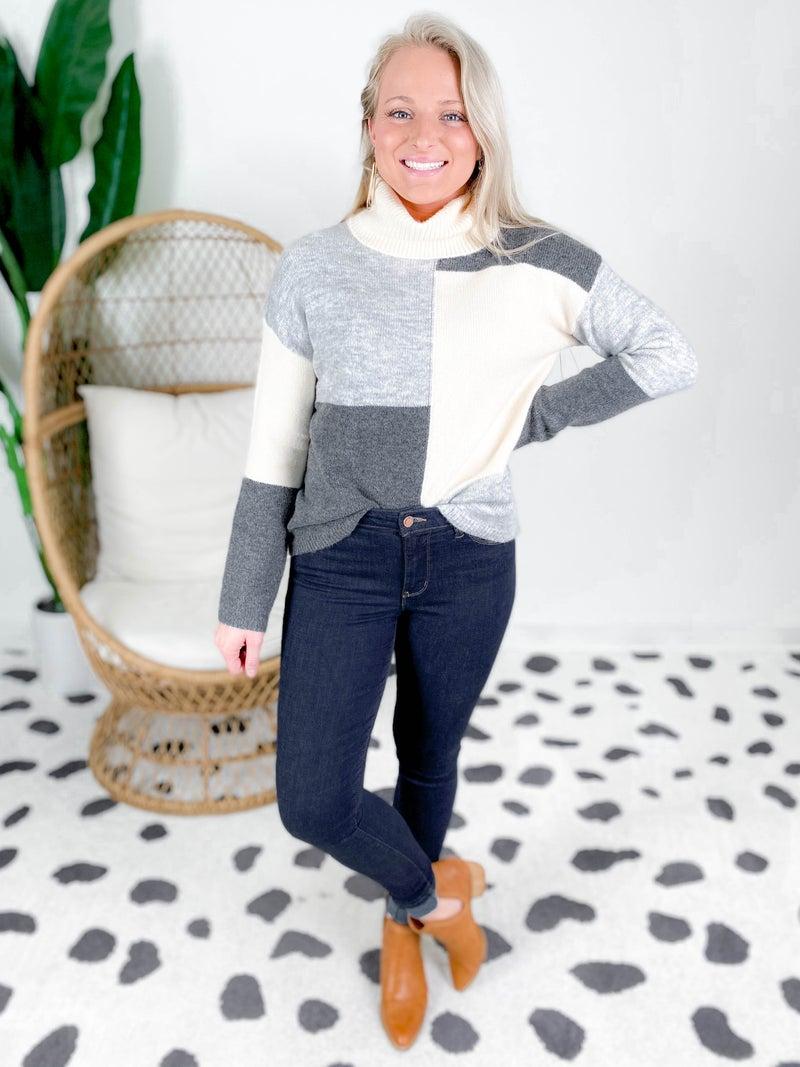Charcoal & Cream Color Block Turtleneck Sweater