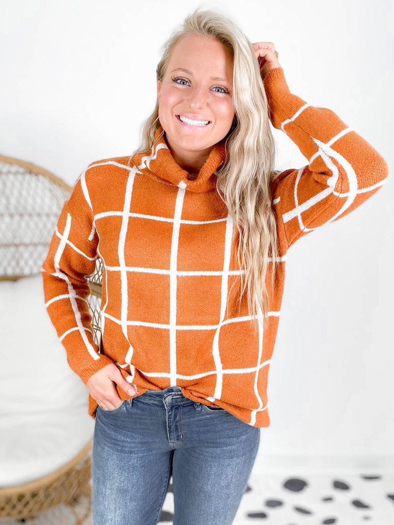 Grid Sweater Turtleneck Top (Multiple Colors)