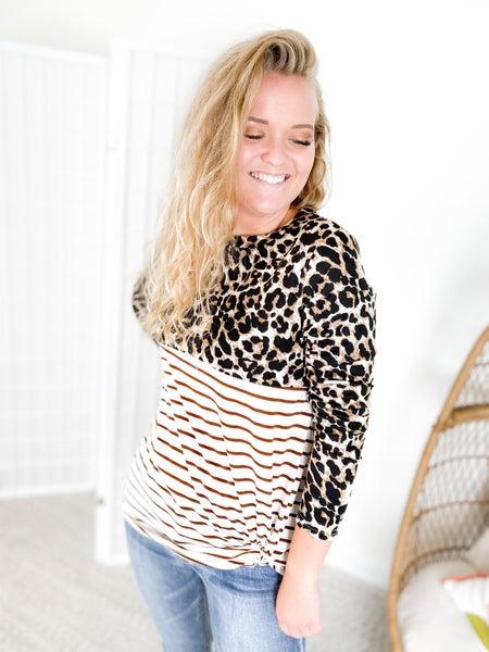 Leopard & Stripes Pattern Blocked Long Sleeve Top