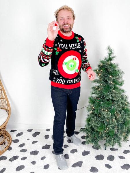 PLUS/REG Men's Drinking Game Christmas Sweater