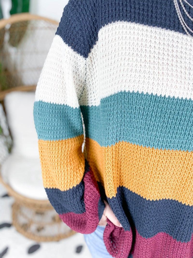 PLUS/REG Cozy Knit Stripe Sweater (Multiple Colors)
