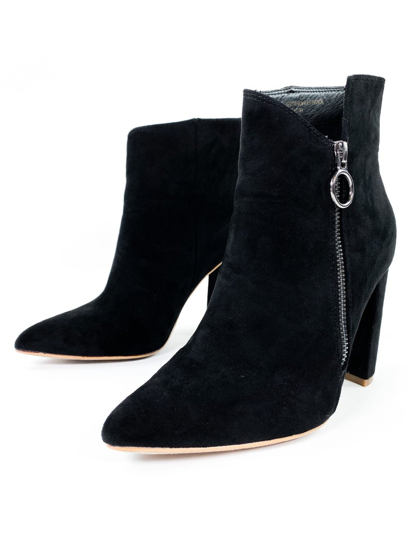 Black High Heel Pointed Toe Ankle Boots with Zipper