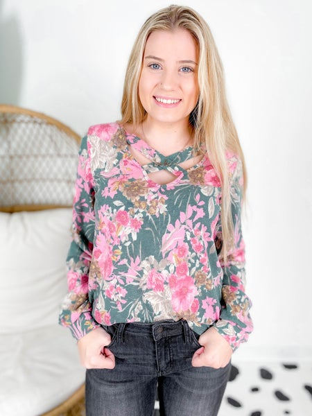 PLUS/REG Green & Pink Floral Top With Criss Cross Neck Detail