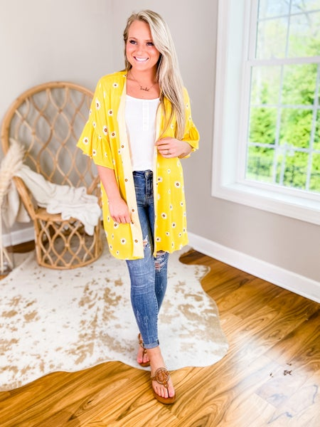 Solid Yellow Kimono With Sunflower Detail