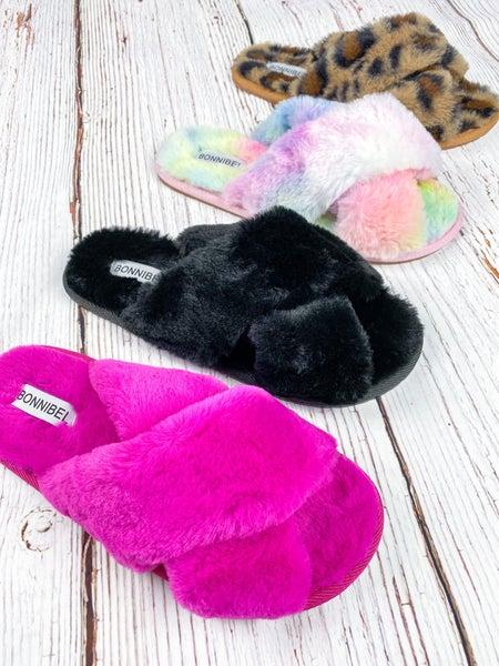 Criss Cross Fur Slippers (Multiple Colors)