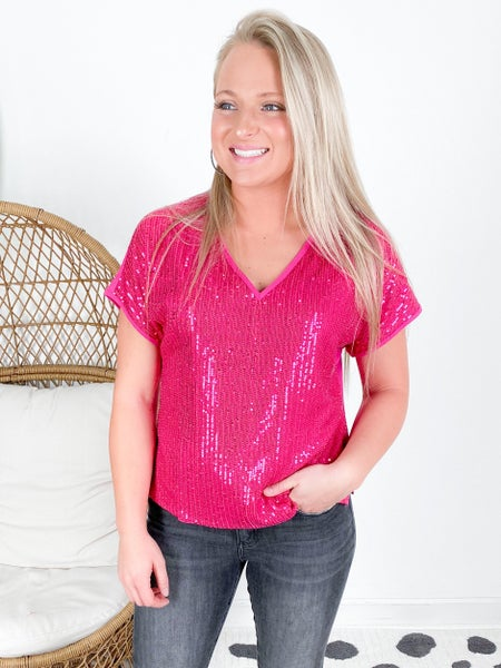 PLUS/REG Hot Pink Sequin V Neck Top