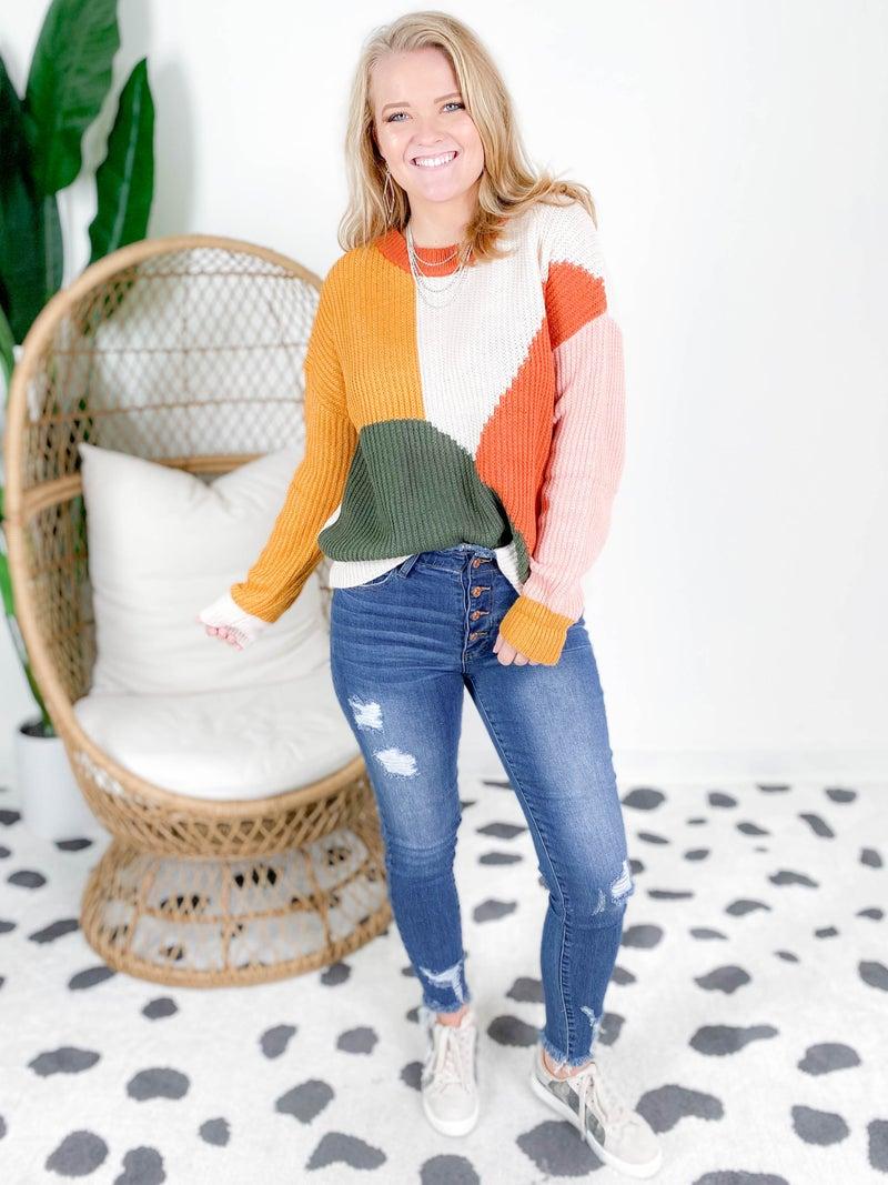 Mustard & Rust Color Block Sweater