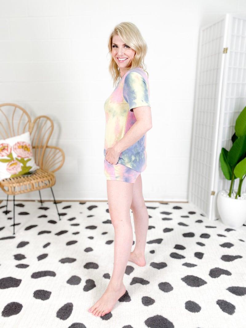 Faded Tie Dye Drawstring Lounge Shorts