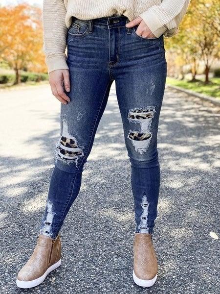 PLUS/REG Check Meowt Judy Blue High Waist Leopard Patch Skinny Jean