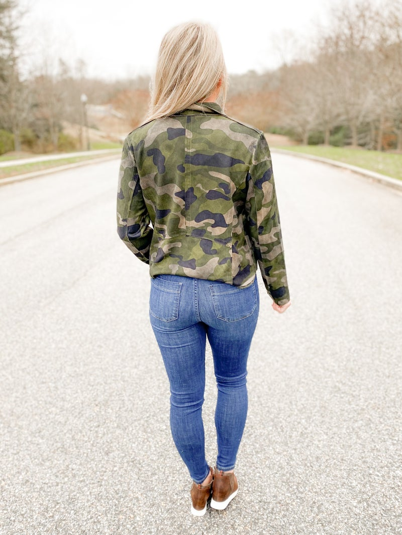 PLUS/REG Camouflage Suede Rider Jacket With Zip Pockets