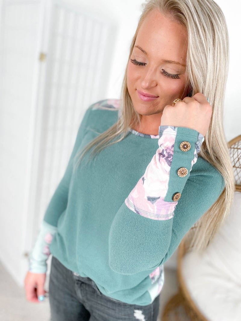 Cloud Soft Teal Top with Floral & Button Details